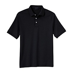 Lands' End - Black men's  short sleeve supima banded sleeve polo