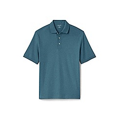 Lands' End - Blue short sleeve supima banded sleeve polo shirt