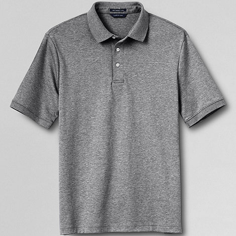 Lands+ End - Grey men+s short sleeved tailored fit supima polo