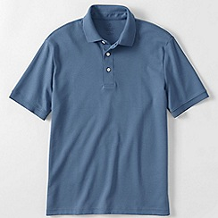 Lands' End - Blue short sleeved tailored fit supima polo