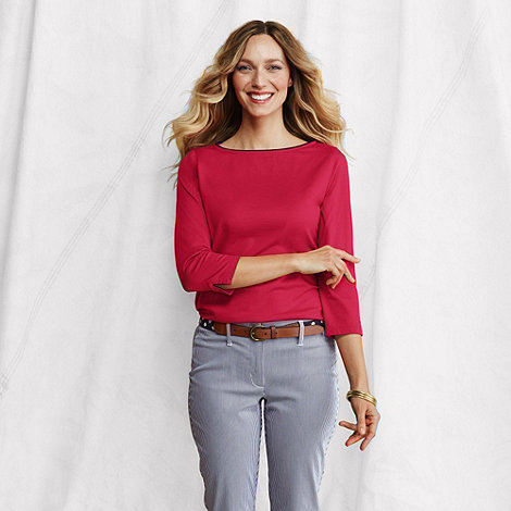 Lands+ End - Red women+s supima three-quarter sleeve boatneck