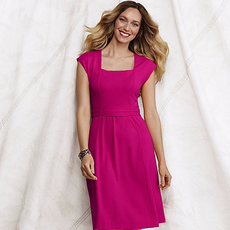 Lands+ End - Pink women+s cotton blend square neck dress