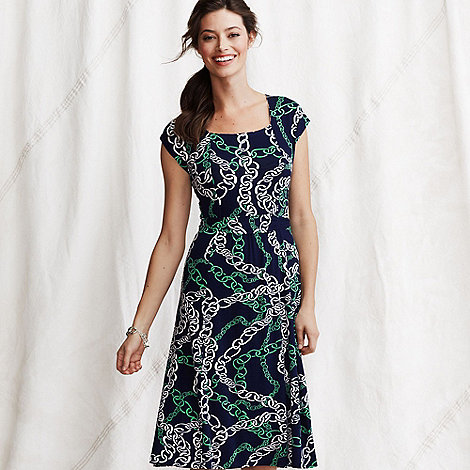 Lands+ End - Multi women+s patterned cotton blend square neck dress
