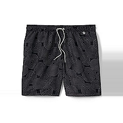 Lands' End - Black regular patterned 6.5 swim shorts