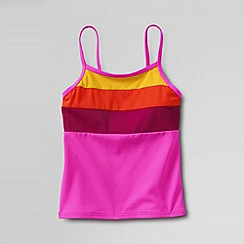 Lands' End - Pink girls' beach basics colourblock tankini top