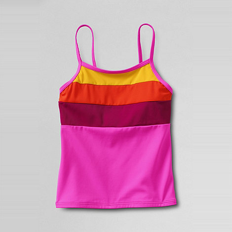 Lands+ End - Pink girls+ beach basics colourblock tankini top