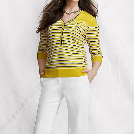 Lands+ End - Yellow women+s fine gauge supima striped v-neck henley