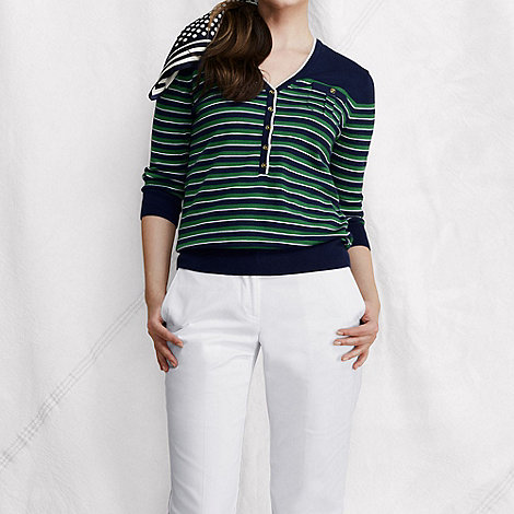 Lands+ End - Multi women+s fine gauge supima striped v-neck henley