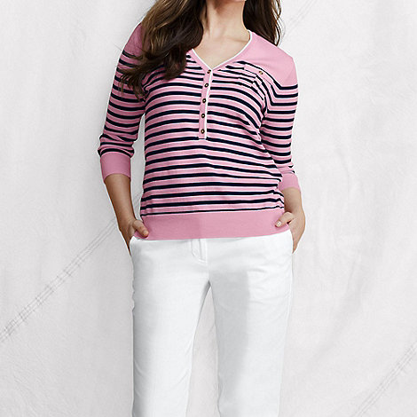 Lands+ End - Pink women+s fine gauge supima striped v-neck henley