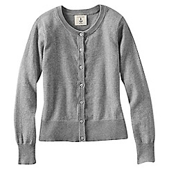 Lands' End - Grey little girls' plain crewneck cardigan