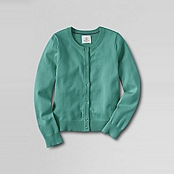 Lands' End - Green little girls' plain crewneck cardigan
