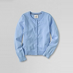 Lands' End - Blue little girls' plain crewneck cardigan