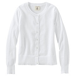 Lands' End - White little girls' plain crewneck cardigan