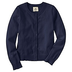 Lands' End - Blue girls' plain crewneck cardigan