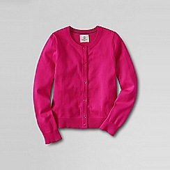 Lands' End - Pink girls' plain crewneck cardigan