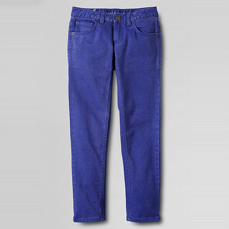 Lands+ End - Blue girls+ 5-pocket coloured slim pencil leg jeans