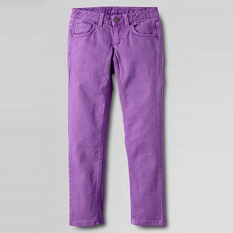 Lands+ End - Purple girls+ 5-pocket coloured slim pencil leg jeans