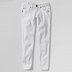 Lands' End - White girls' 5-pocket coloured slim pencil leg jeans