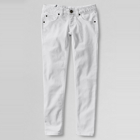 Lands+ End - White girls+ 5-pocket coloured slim pencil leg jeans