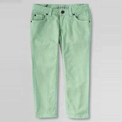 Lands+ End - Green girls+ coloured denim 5-pocket capris