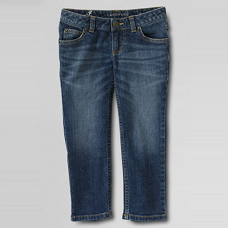 Lands+ End - Blue girls+ coloured denim 5-pocket capris