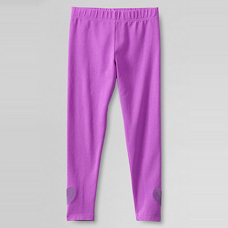 Lands+ End - Purple girls+ sequin heart hem legging