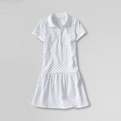 Lands+ End - White girls+ skort polo dress
