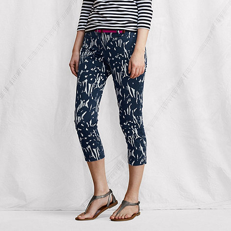 Lands+ End - Blue women+s patterned stretch cropped chinos