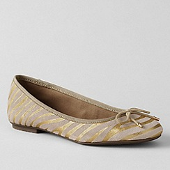 Lands' End - Gold women's bianca bow ballet shoes