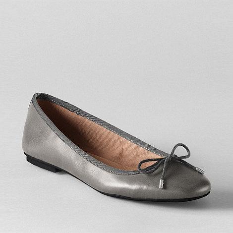 Lands+ End - Grey women+s bianca bow ballet shoes
