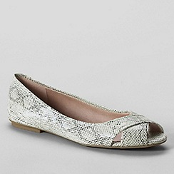 Lands' End - Grey women's blythe open toe ballet shoes