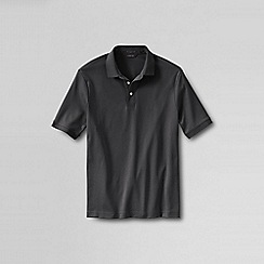 Lands' End - Grey men's  short sleeve supima banded sleeve polo