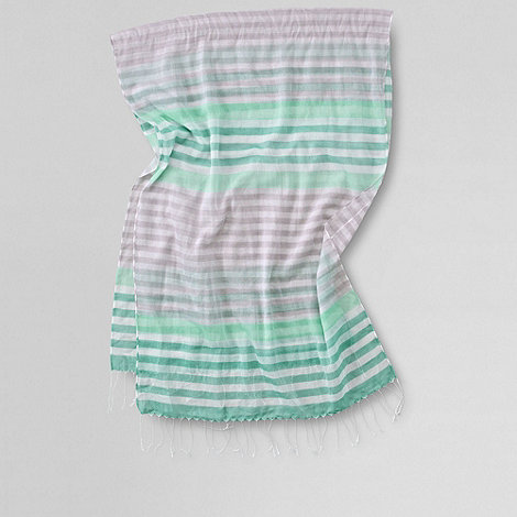 Lands+ End - Green women+s voile multi stripe scarf