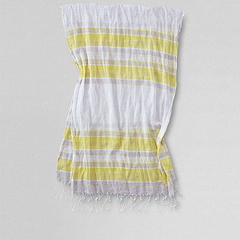 Lands+ End - Yellow women+s voile multi stripe scarf