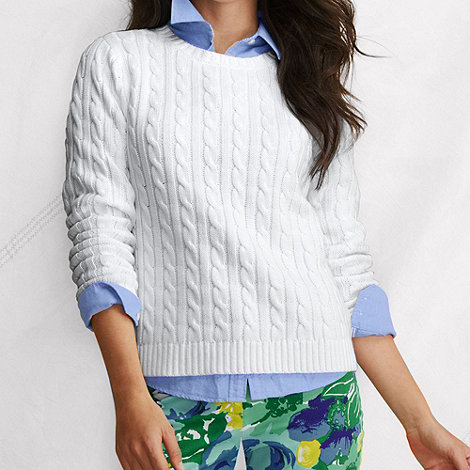 Lands+ End - White petite new drifter cable crewneck