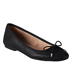 Lands' End - Black women's wide bianca bow ballet shoes