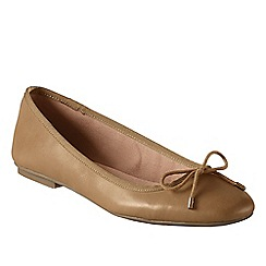 Lands' End - Beige women's wide bianca bow ballet shoes