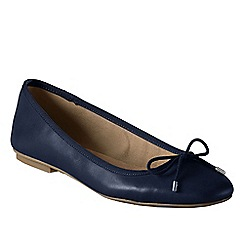 Lands' End - Blue women's wide bianca bow ballet shoes