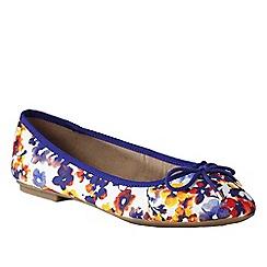 Lands' End - Blue women's wide bianca bow ballet shoes