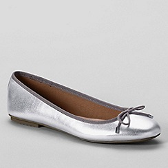 Lands' End - Metallic women's wide bianca bow ballet shoes