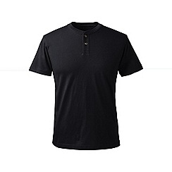 Lands' End - Black regular short sleeve super-t henley