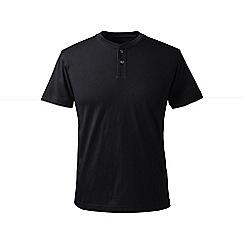 Lands' End - Black regular short sleeve super-t henley