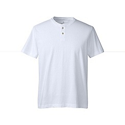 Lands' End - White regular short sleeve super-t henley