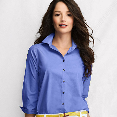Lands+ End - Blue women+s three-quarter sleeve supima non-iron shirt