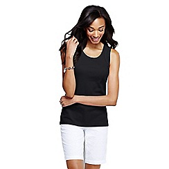 Lands' End - Black women's petite cotton vest top