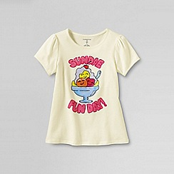 Lands' End - Cream girls' picot edge sundae fun day graphic tee