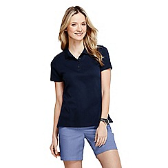 Lands' End - Black women's plain short sleeved pima polo tall