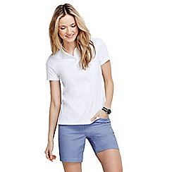 Lands' End - White women's plain short sleeved pima polo tall
