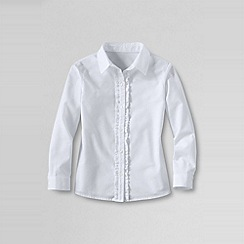 Lands' End - White girls' ruffle placket shirt