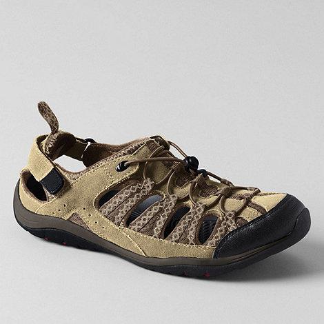 Lands+ End - Beige men+s trekker closed toe sandals
